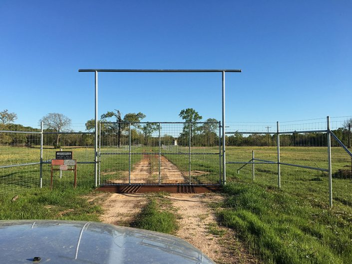 High fence gate with cattle guard